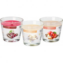Scented candle in glass, fruit mix, pack of 12 pieces