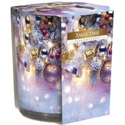 Scented candle in straight glass and foil, pack of 6 pieces