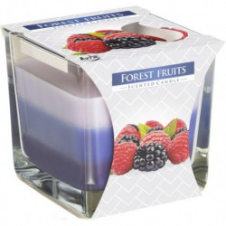 Scented candle in a straight glass with a filling solution in three colors, pack of 6 pieces