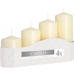 Votive candle, graduated, unscented, 4 pieces, burning time from 11h to 33h, collective packaging 6 packs